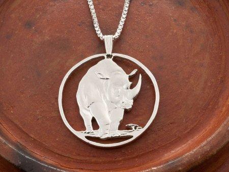 Rhinoceros Pendant, Rhinoceros Jewelry, Tanzania Jewelry, Coin Jewelry, Handmade Coin Jewelry, Wildlife Jewelry, African Wildlife, (# 377S )