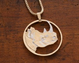 "Rhinosaurus Pendant and Necklace, Rritrea African Rhino Coin Hand Cut, 14 Karat Gold and Rhodium plated, 1 1/4"" in Diameter, ( # 907 )"