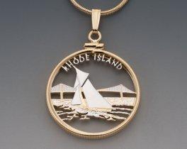 "Rhode Island State Quarter Pendant, Hand Cut United States Rhode Island Quarter, 14 Karat Gold and Rhodium Plated, 1"" in Diameter,( # 2013 )"
