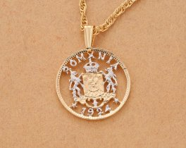 "Romanian Royal Crest Coin Pendant and Necklace, Romanian I Leu Coin Hand Cut, 14 Karat Gold and Rhodium plated, 3/4"" in Diameter, ( # 814 )"
