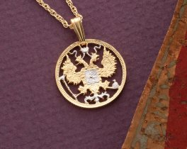 "Russian Eagle Pendant and Necklace, Russian 15 Kopeks Coin Hand cut, 14 Karat Gold and Rhodium plated, 3/4"" in Diameter, ( # 269 )"