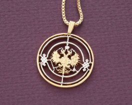 """Russian Imperial Eagle Pendant and Necklace, Russian Three Kopec Coin Hand Cut, 14 K Gold and Rhodium Plated, 1 1/8"""" in Diameter, ( # 271 )"""