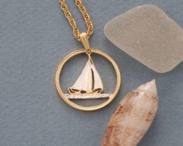 """Sailboat Pendant and Necklace, Bahamian 25 Cents Sailboat Coin Hand Cut, 14 Karat Gold and Rhodium plated, 1"""" in Diameter, ( # 17 )"""