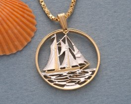 """Sailboat Pendant and Necklace, Cayman Islands 25 cents Sailboat coin Hand cut, 14 Karat Gold and Rhodium plated, 7/8"""" in Diameter, ( # 59 )"""