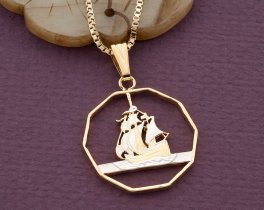 "Sailboat Pendant, Sailboat Necklace, Nautical Jewelry, Eastern Caribbean Coin Jewelry, 1"" in diameter, ( # 374D )"