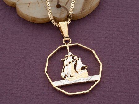 """Sailboat Pendant, Sailboat Necklace, Nautical Jewelry, Eastern Caribbean Coin Jewelry, 1"""" in diameter, ( # 374D )"""