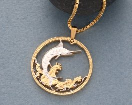 """Sailfish Pendant and Necklace, BahamasCoin Jewelry, Ethnic Jewelry, Hand Cut Coins, Coin Jewelry,  Nautical Gifts, 1"""" in Diameter, ( # 20 )"""