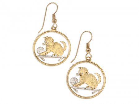 Scottish Fold Cat Coin Earrings, Isle Of Man Cat Coin Hand Cut, 14 Karat Gold and Rhodium Plated, 14K G/F Wires, ( # 710E )