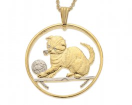"""Scottish Fold Cat Pendant and Necklace, Isle Of Man Cat Coin Hand Cut, 14 Karat Gold and Rhodium Plated, 1 1/2"""" in Diameter, ( # 709 )"""