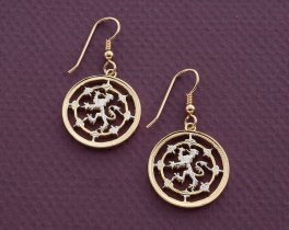 """Scottish Lion Earrings, Scotland One Pound Coin Hand Cut,14 K Gold and Rhodium plated,14 K Gold Filled Wires 7/8"""" in Diameter, ( # 577E )"""