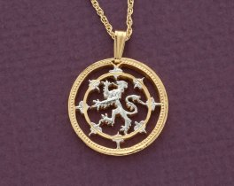 "Scottish Lion Pendant and Necklace,  One Pound (Scottish Issue) Coin Hand Cut, 14 K Gold and Rhodium plated,7/8"" in Diameter, ( # 577 )"