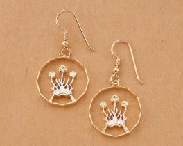 """Scottish Thistle Earrings, Scotland Issue Coin Hand Cut, 14 Karat Gold and Rhodium plated,4/5"""" in Diameter, 14K Gold Filled Wires( # 136E )"""