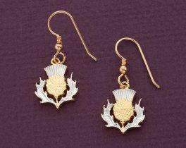 "Scottish Thistle Earrings, Scottish coin Hand Cut,  5/8"" in Diameter ( #138BE )"