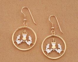 Scottish Thistle Earrings, Scottish Jewelry, Thistle earrings, Scotland Coin Jewelry, Womans Jewelry, Etsy Jewelry, Coin Jewelry, ( # 137E )