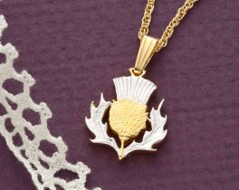 """Scottish Thistle Pendant and Necklace, 2 Pound Scottish Issue coin Hand Cut, 14 Karat Gold and Rhodium plated, 5/8"""" in Diameter ( # 138B )"""