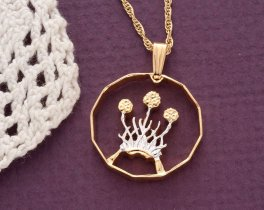 """Scottish Thistle Pendant and Necklace, British 3 Pence ( Scottih Issue ) Coin Hand cut,14 K and Rhodium plated, 3/4"""" in Diameter, ( # 136 )"""