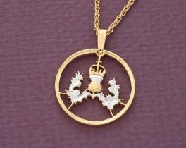 """Scottish Thistle Pendant and Necklace, British 5 Pence ( Scottish Issue ) Coin Hand Cut,14 K and Rhodium plated, 7/8"""" in Diameter, ( # 137)"""