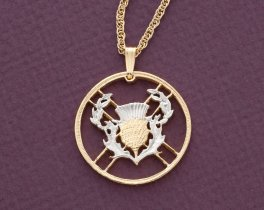 """Scottish Thistle Pendant and Necklace,2 Pound (Scotish Issue) Coin Hand Cut, 14 Karat Gold and Rhodium plated, 1"""" in Diameter, ( # 138 )"""