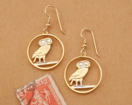 """Screech Owl Earrings, Greek Two Draxmai Coin Hand Cut,14 K Gold and Rhodium plated, 7/8"""" in Diameter, 14K Gold Filled Wires, ( # 143E )"""