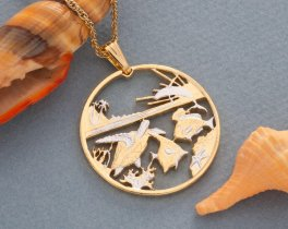 """Sea Life Pendant and Necklace, Hawaii Five Dollar Trade Coin Hand Cut, 14 Karat Gold and Rhodium PLated, 1 1/2"""" in Diameter, ( # 770 )"""
