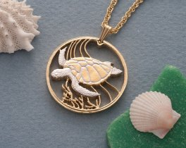 """Sea Turtle Pendant and Necklace Jewelry, Bermuda One Dollar Coin hand Cut, 14 Karat Gold and Rhodium Plated, 1 1/4"""" in Diameter,( # 37 )"""