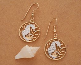 """Seahorse Earrings, Singapore Ten Cents Seahorse Coin Hand Cut, 14 Karat Gold and Rhodium Plated, 3/4"""" in Diameter, ( # 295E )"""