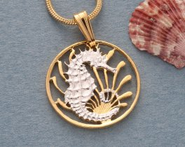 "Seahorse Pendant and Necklace, Singapore 10 Cents coin Hand Cut, 14 K Gold and Rhodium plated, 3/4"" in Diameter, ( # 295 )"
