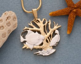 """Sealife Pendant and Necklace, Barbados Coin Jewelry, Hand Cut Coin Jewelry, Coin Jewelry, Nautical Jewelry, 1 """" in Diameter , ( # 25 )"""