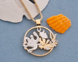 "Sealife Pendant and Necklace, Gibralter One Crown Sealife Coin Hand cut, 14 Karat Gold and Rhodium plated, 1 1/8"" in Diameter, ( # 639 )"