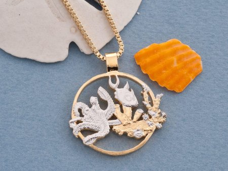 """Sea life Pendant and Necklace, Gibraltar One Crown Sea life Coin Hand cut, 14 Karat Gold and Rhodium plated, 1 1/8"""" in Diameter, ( # 639 )"""