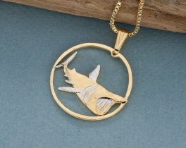 "Shark Pendant, Hand Cut Isle Of Man Shark Coin, 14 Karat Gold and Rhodium Plated, 1 1/8"" in Diameter, ( # 938 )"
