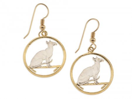 """Siamese Cat Coin Earrings, Isle Of Man Cat Coin Hand Cut, 14 Karat Gold and Rhodium plated, 14 K G/F Wires 7/8"""" in Diameter, ( # 663E )"""
