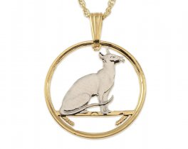 """Siamese Cat Pendant and Necklace, Isle of Man Cat Coin hand cut, 14 K Gold and Rhodium plated, 1 1/2"""" in Diameter ( # 395 )"""