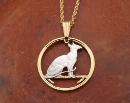 """Siamese Cat Pendant and Necklace, Isle Of Man Cat Jewelry Hand Cut Coin ,14K and Rhodium Plated , 7/8 """" in Diameter, ( # 663 )"""