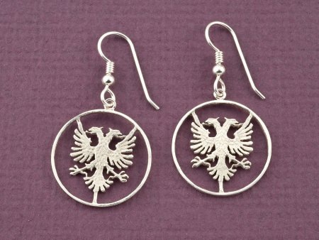 Silver Albanian Eagle Earrings, Albanian Earrings, Albanian Jewelry, Albanian Eagle Jewelry, Albanian Coin Jewelry, ( # 940ES )