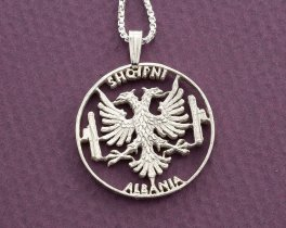 "Silver Albanian Eagle Pendant and Necklace, Hand cut Albanian 10 Lex coin Pendant, Albanian Eagle Jewelry, 1 1/8"" diameter, ( # 929S )"