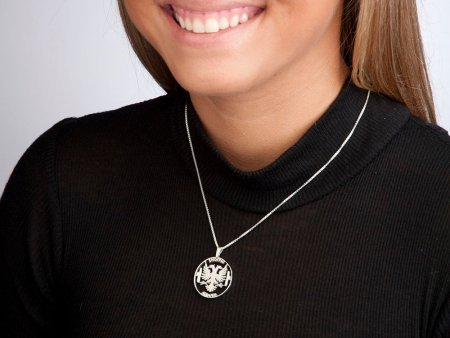 """Silver Albanian Eagle Pendant and Necklace, Hand cut Albanian 10 Lex coin Pendant, Albanian Eagle Jewelry, 1 1/8"""" diameter, ( # 929S )"""