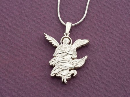 "Silver Angel Pendant and Necklace, Hand cut Angel Coin Pendant, Religious Jewelry, Angel Jewelry, 1"" diameter, ( # 680S )"