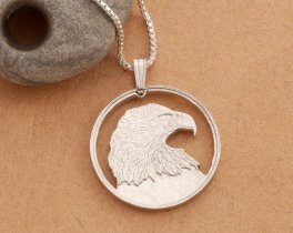 "Silver Bald Eagle Pendant and Necklace, Hand cut Canadian Bald Eagle Coin, Sterling Silver Eagle Jewelry, 1"" diameter, ( # 736S )"