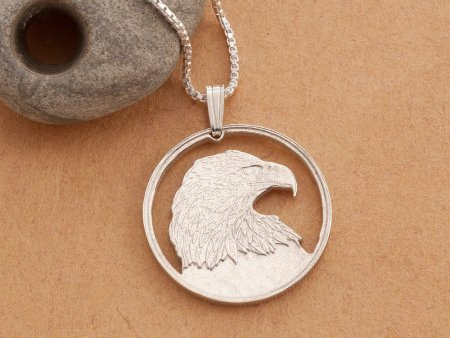 """Silver Bald Eagle Pendant and Necklace, Hand cut Canadian Bald Eagle Coin, Sterling Silver Eagle Jewelry, 1"""" diameter, ( # 736S )"""