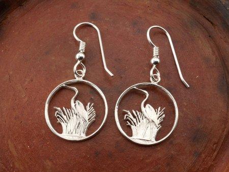 Silver Blue Heron Earrings, Blue Heron Earrings, Blue Heron Jewelry, Bird Jewelry, Wild Life Jewelry, Womans Silver Earrings,( #231ES )