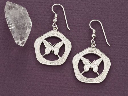 Silver Butterfly Earrings, Butterfly Earrings, Butterfly Jewelry, Sterling Silver Butterfly Earrings, Womans Silver Earrings, ( # 657ES )