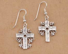 Silver Cross Earrings, Sterling Silver Cross Earrings, Silver Religious Earrings, Religious Earrings, Religious Gifts, ( # 875BES )