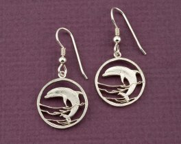Silver Dolphin Earrings, Dolphin Earrings, Dolphin Jewelry, Silver Sea Life Earrings, Sea Life Jewelry, Womans Earrings, ( #505BES )