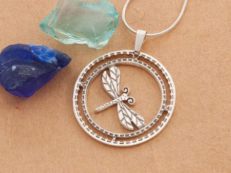 """Silver Dragonfly Pendant, hand cut Silver Dragonfly pendant, Silver Dragonfly Jewelry, 1 1/8"""" diameter, ( # 890S )"""