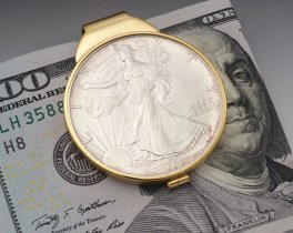 "Silver Eagle Money Clip, United States Siler Eagle Money, 14 Karat Gold Plated Money Clip, 1 1/2"" x 2"" , ( # SRUM )"