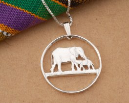 "Silver Elephant Pendant, Sterling Silver Elephant Necklace, African Wild Life Jewelry, 1 1/8"" in diameter, ( # 232S )"