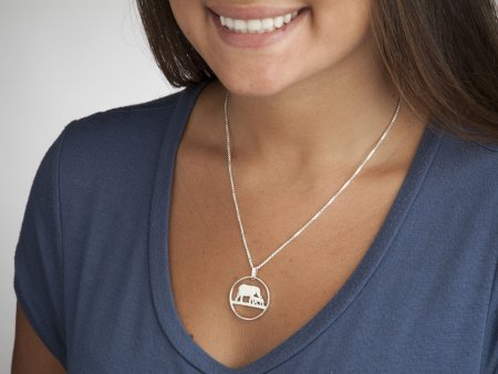 """Silver Elephant Pendant, Sterling Silver Elephant Necklace, African Wild Life Jewelry, 1 1/8"""" in diameter, ( # 232S )"""