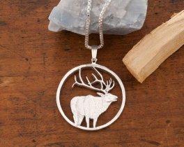 Silver Elk Pendant, Sterling Silver Elk Pendant, Elk Pendant, Wild Life Jewelry, Mens Pendants, Mens Gifts, Hunters Gift Ideas, ( # 915S )