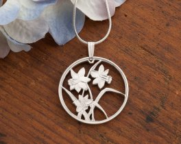 "Silver Flower Daffodils Pendant and Necklace, Hand cut Canada Flower coin pendant, Silver Flower Jewelry, 1"" diameter, ( #796S )"